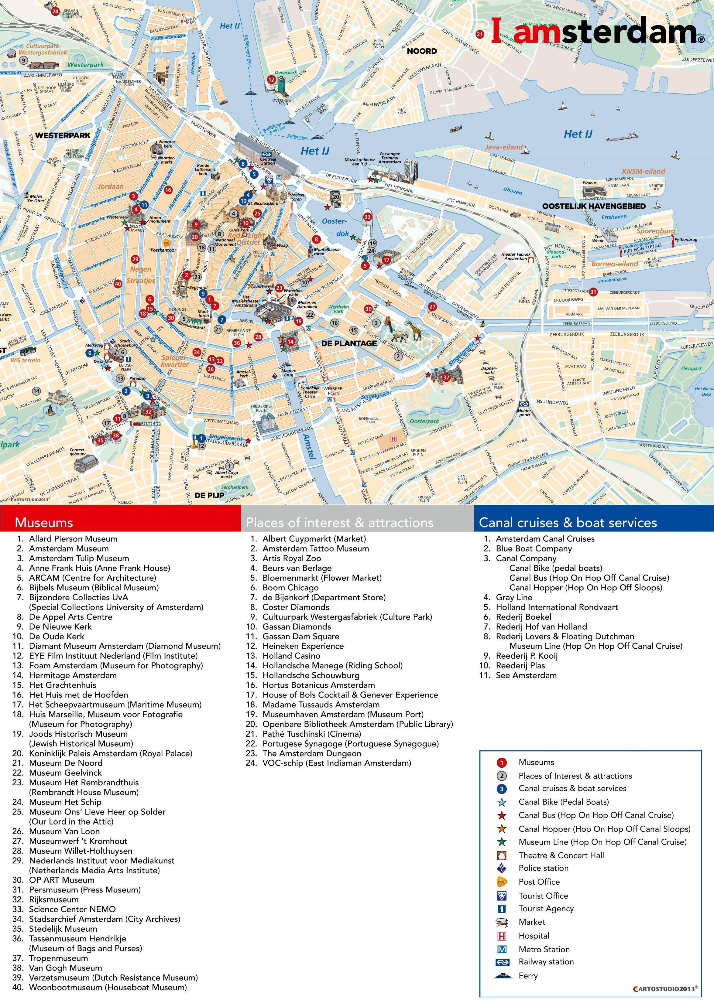 Amsterdam Toeristische Attracties Kaart Amsterdam