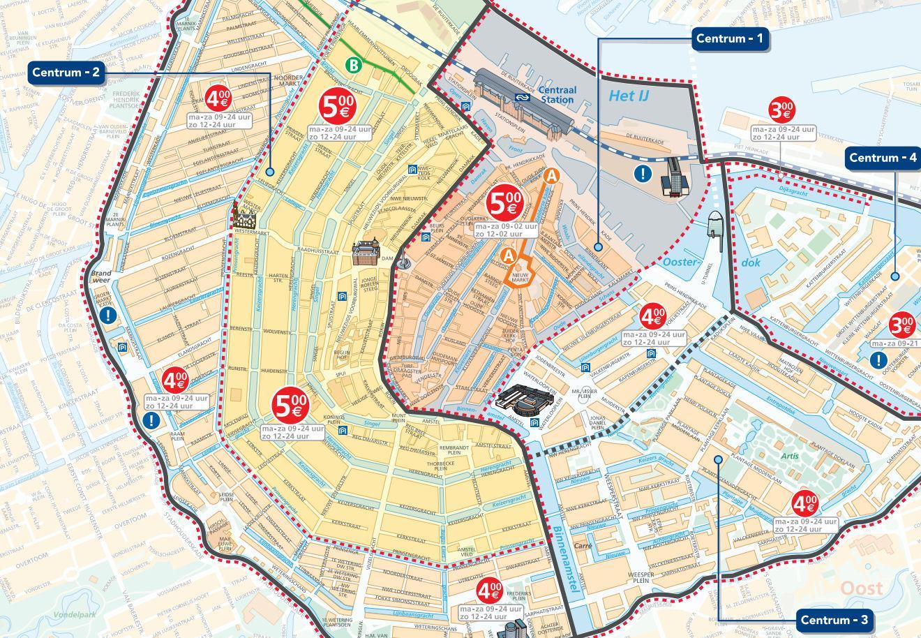 Parkeerzones Van De Kaart Van Amsterdam Amsterdam Parkeerzones